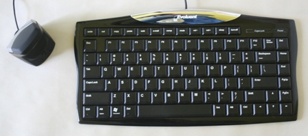 DXT Ergonomic Mouse2 to the left of an Evoluent Essentials keyboard